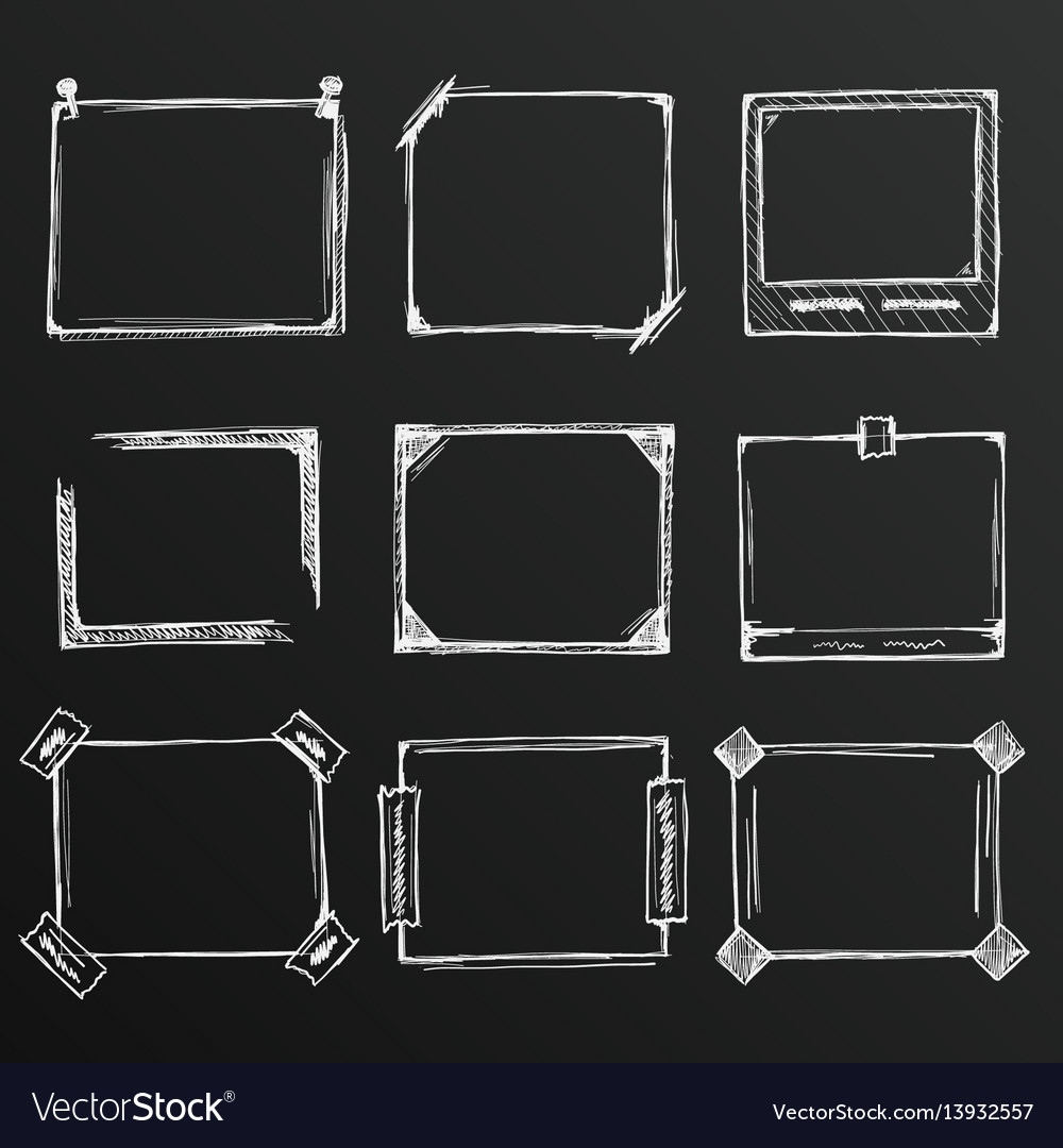Chalkboard sketch of hand drawn frame set