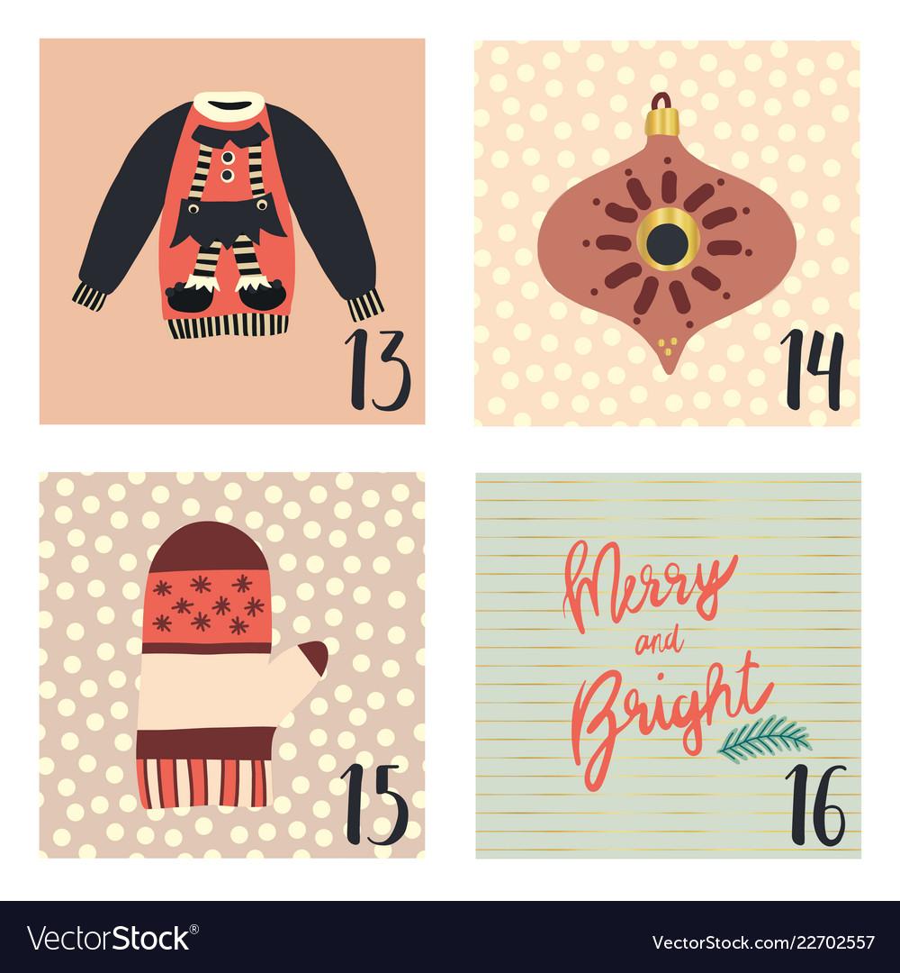 Christmas advent calendar hand drawn