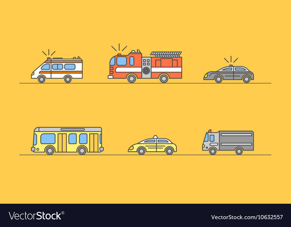 Colorful Car Thin Line Icons Set