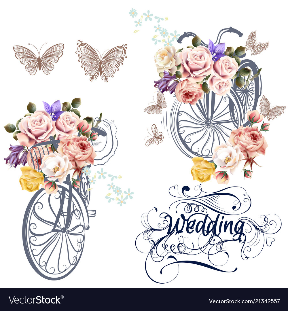 Cute set for invitation design with fake bicycle