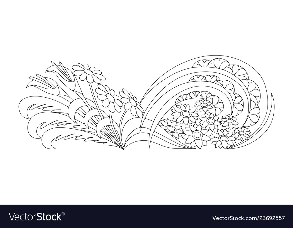 Doodle flowerbed floral coloring book for