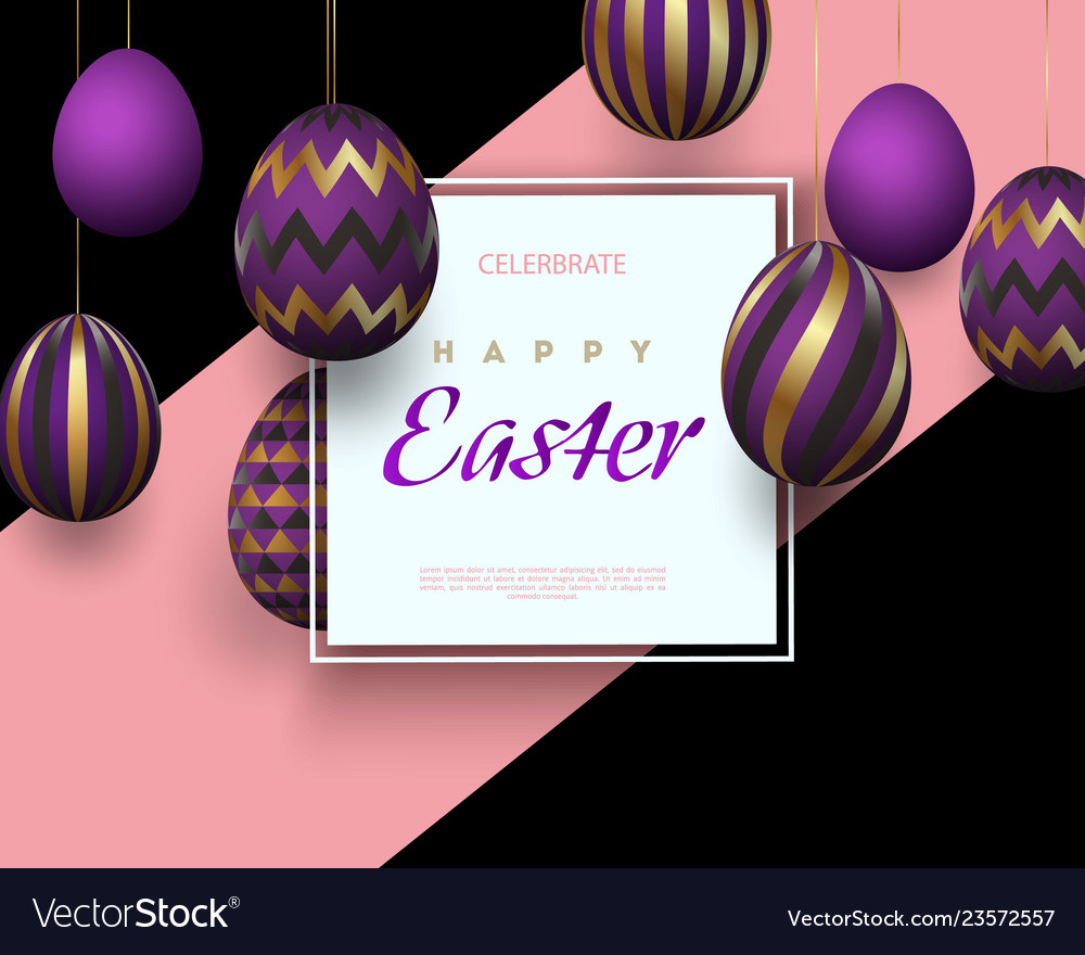Easter card with square frame golden purple