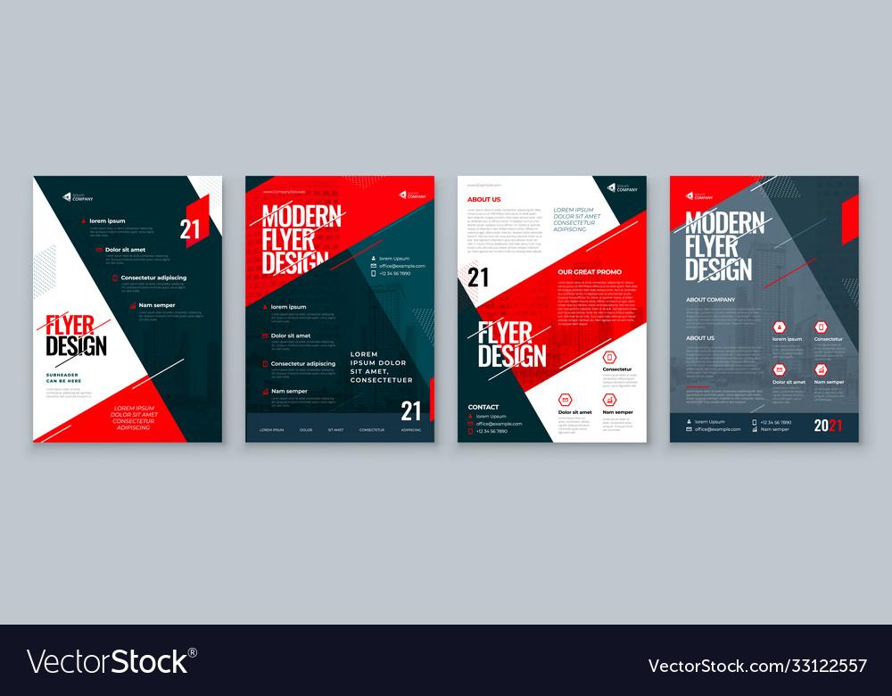 Flyer design set dark red modern background