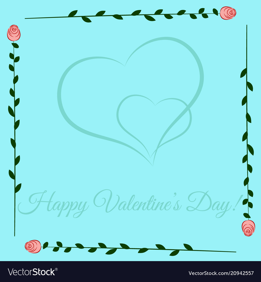 Frame of roses on blue background valentines day