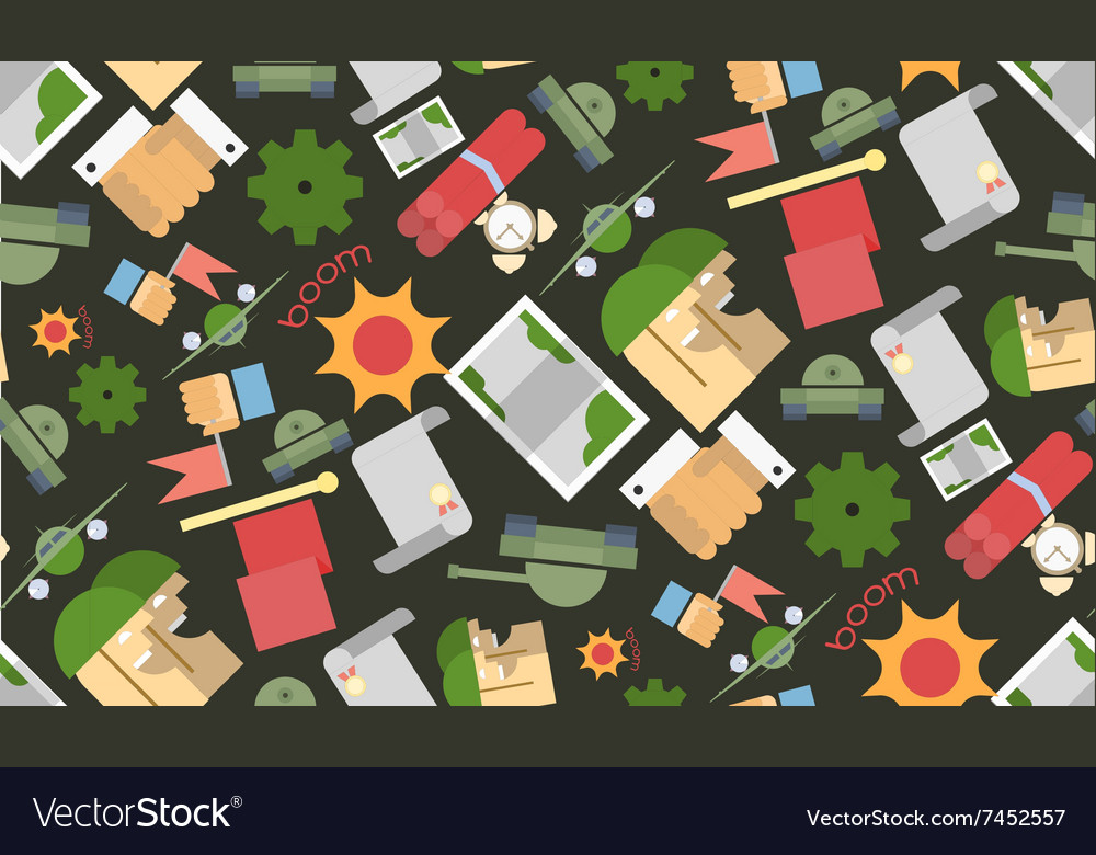 Funny seamless pattern Military vector image
