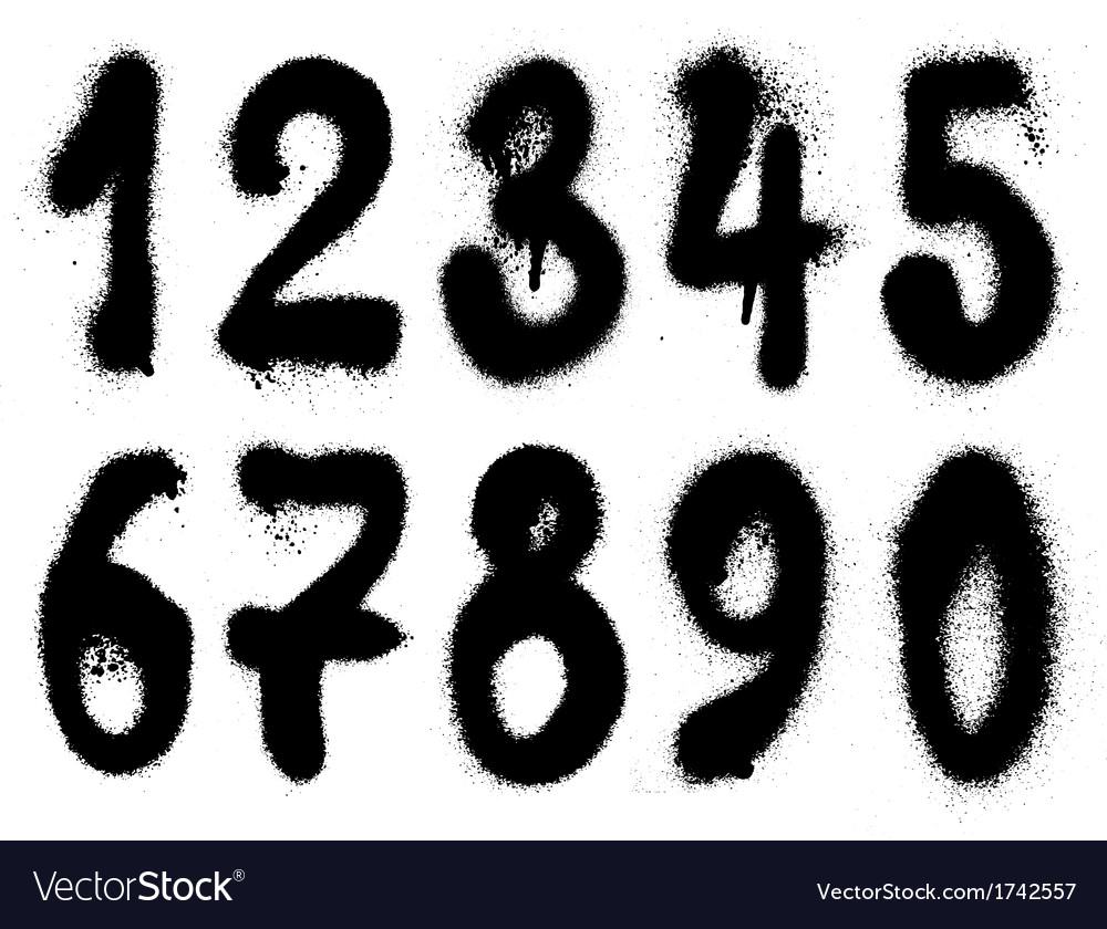 Hand Drawn Graffiti Grunge Spraycan Numbers Vector Image