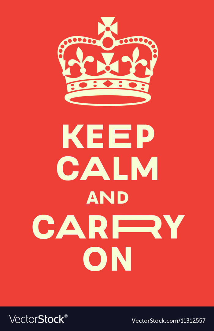 Keep Calm And Carry On Poster Royalty Free Vector Image