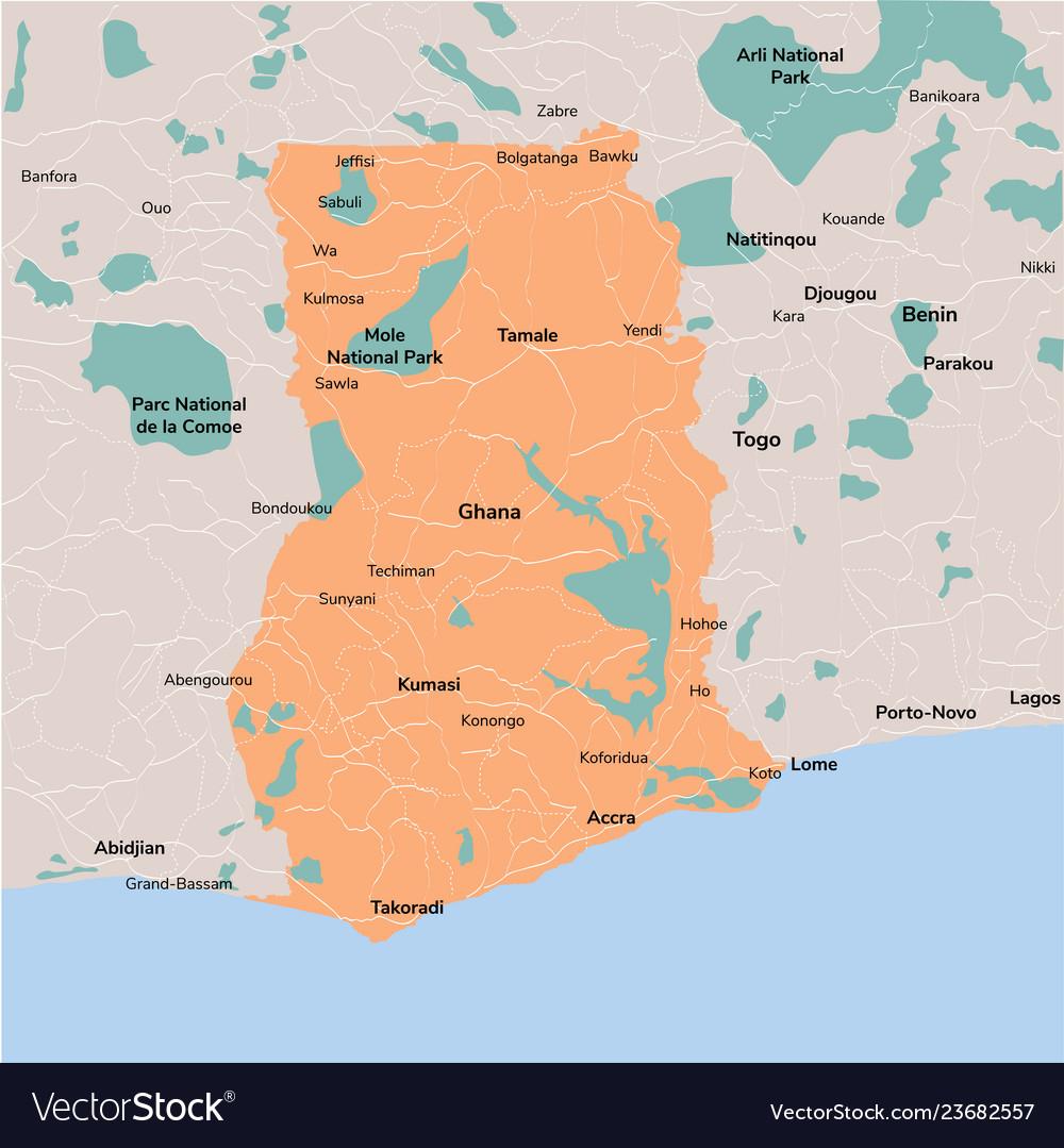 Map ghana isolated eps 10