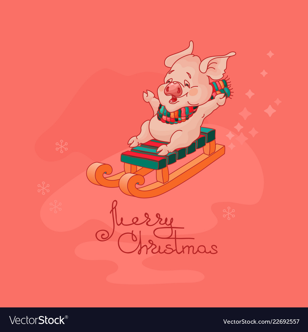 Merry christmas card cute pig on sled
