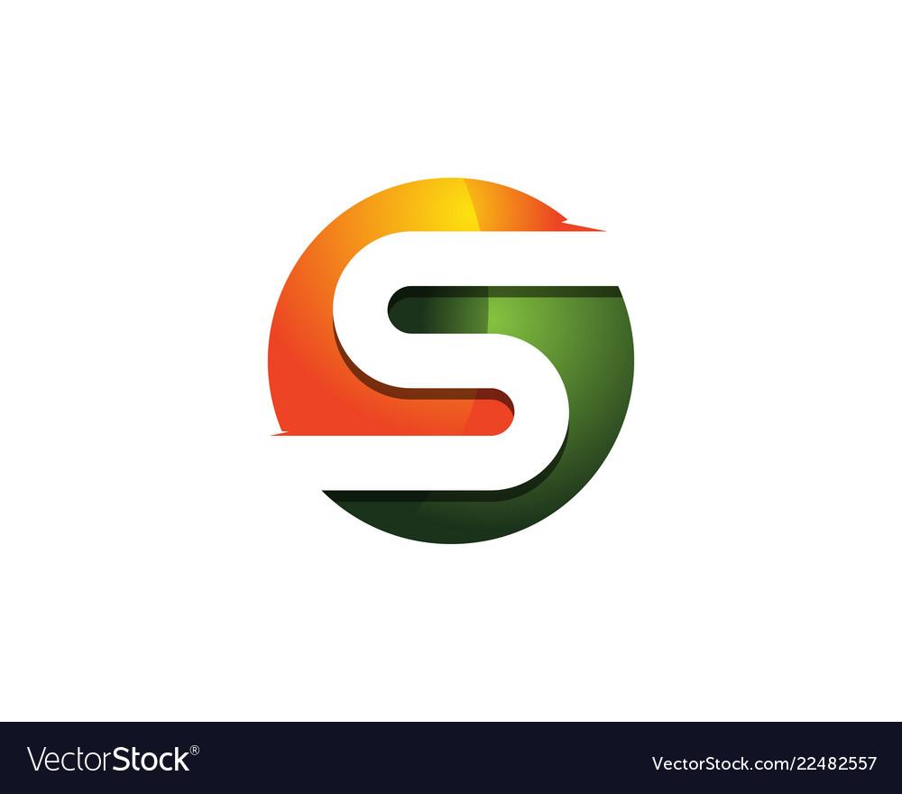 S 3d colorful circle letter logo icon design