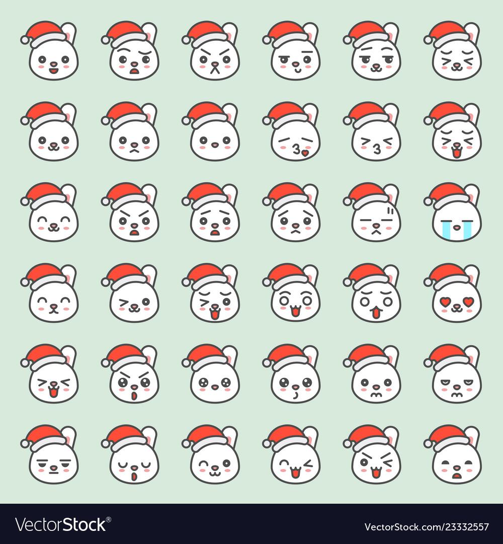 Santa rabbit emotion face in various expession