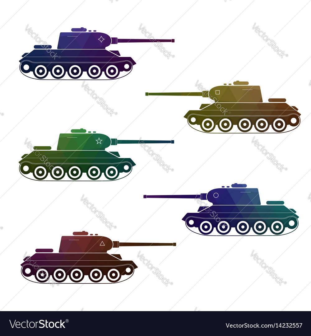 Set of five battle retro multicolor tanks