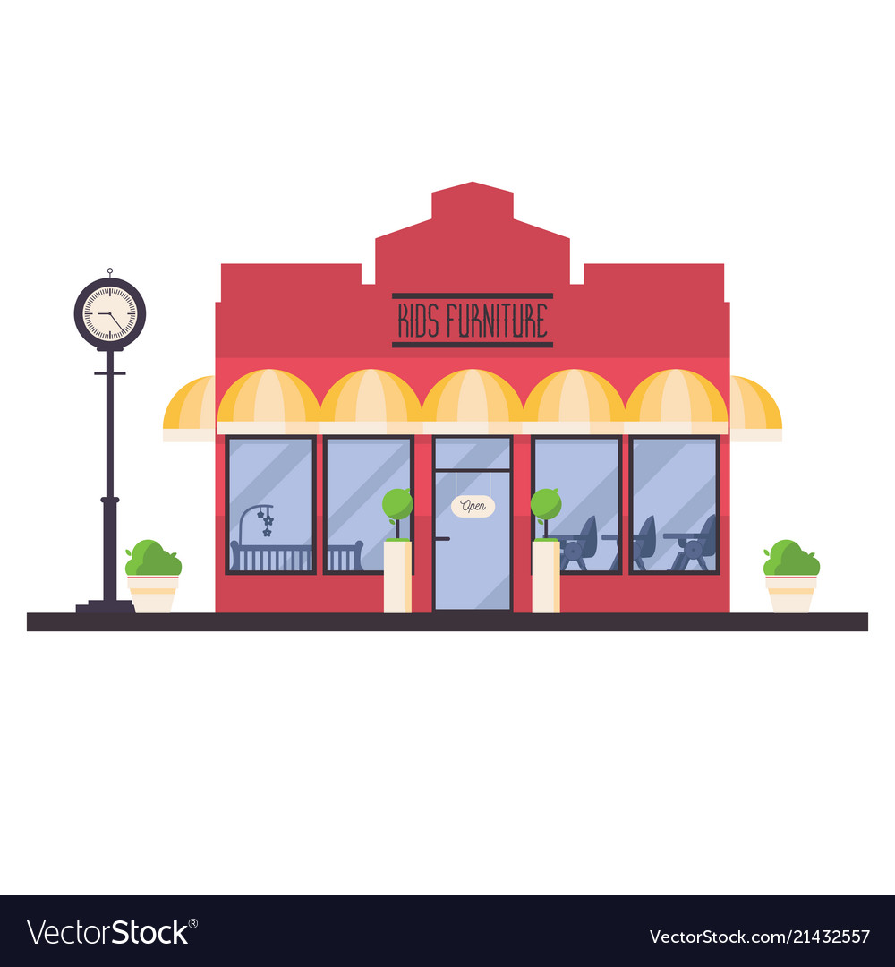 Store front of kids furniture shop isolated on