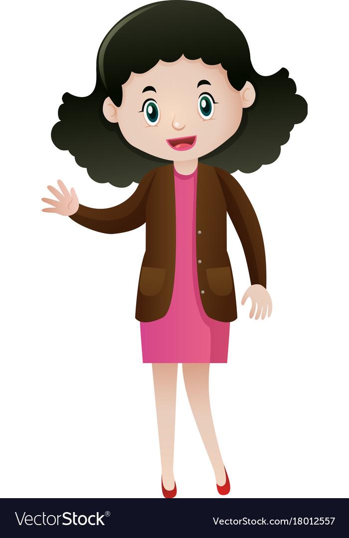 Woman in brown jacket waving hand vector image