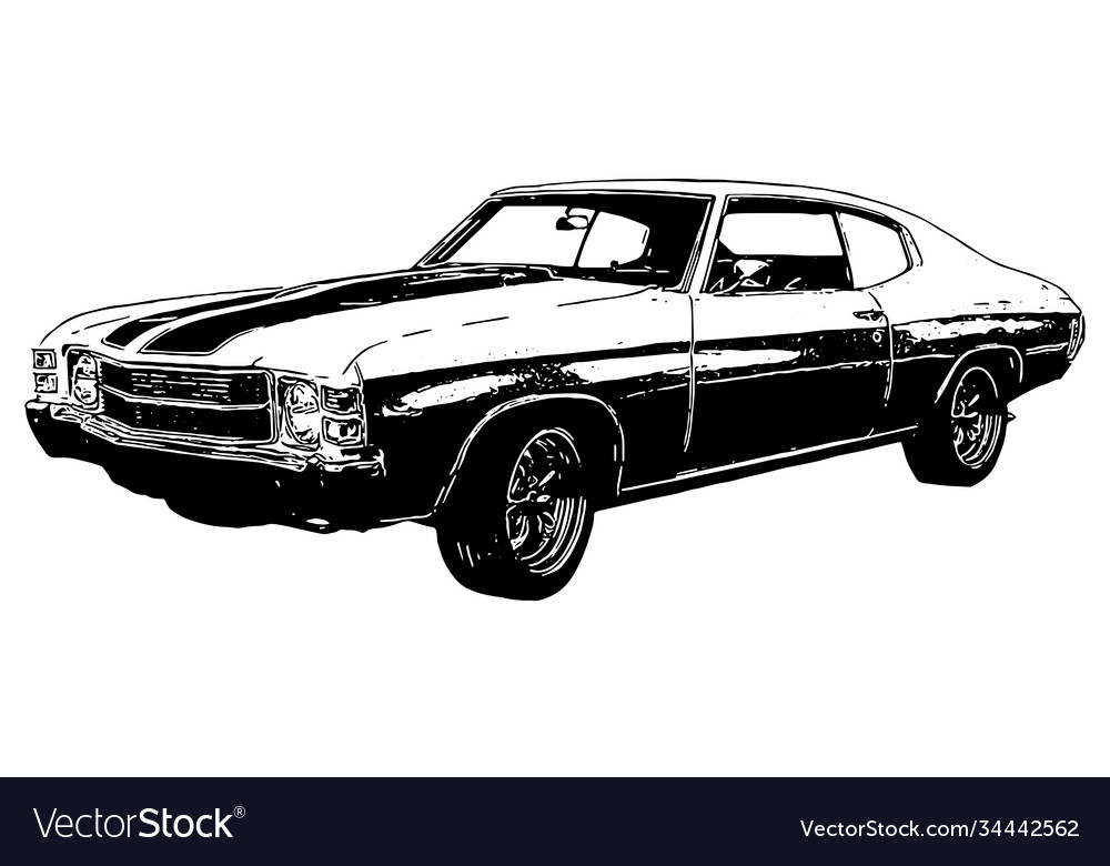 1970s classic muscle car with texture