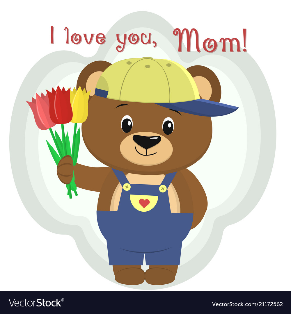 A cute brown bear holds three tulips