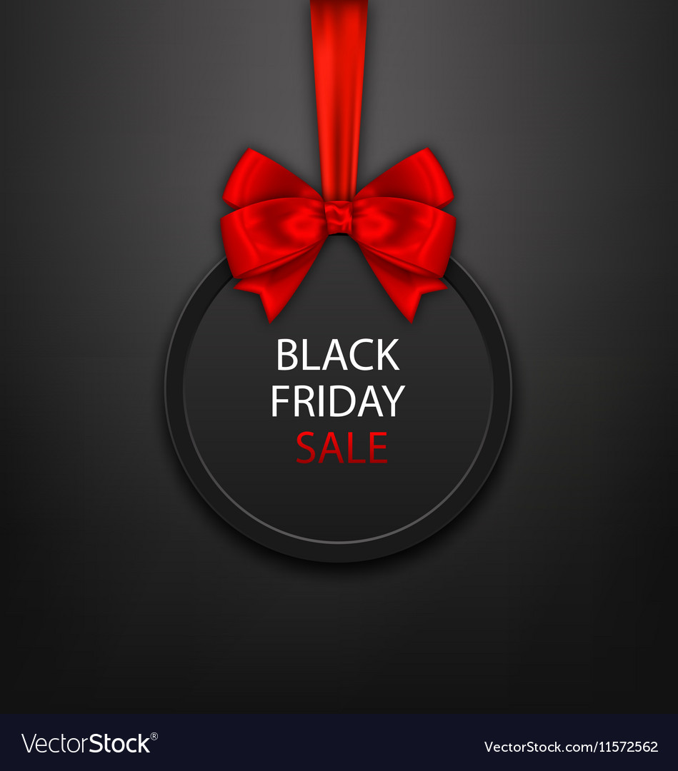 Black Friday Round Frame with Red Ribbon and Bow