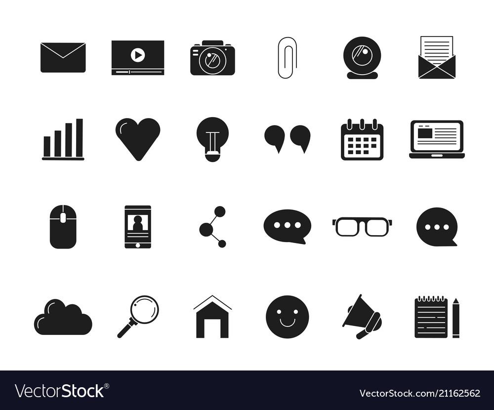 Blogging symbols web icon in black style