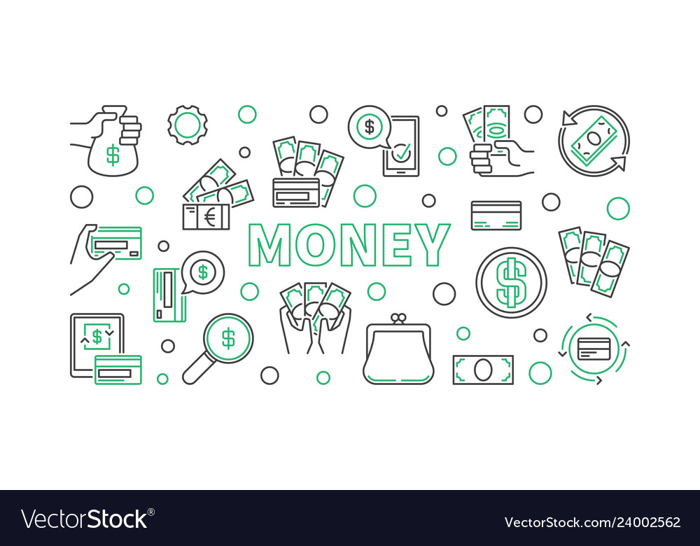 Cash credit card banknote outline icons