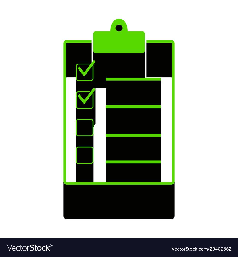 Checklist sign green 3d icon