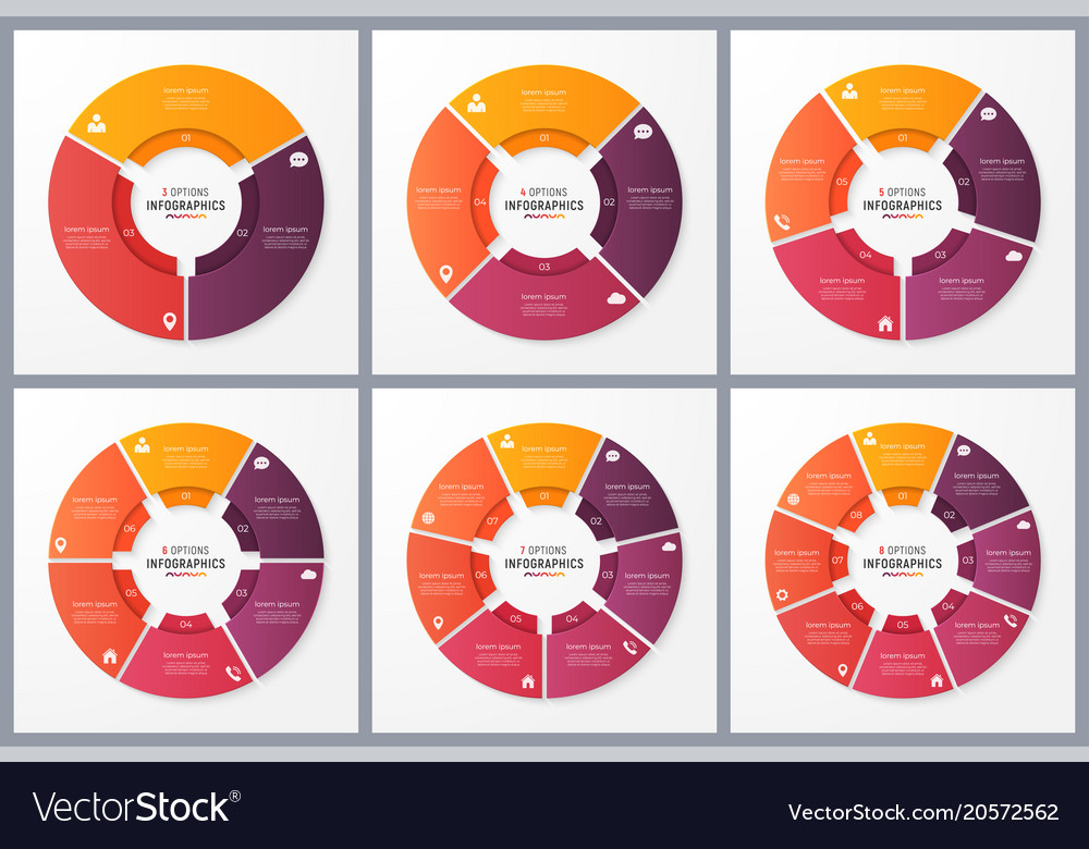 Circle chart templates with 3 4 5 6 7 8 options vector image