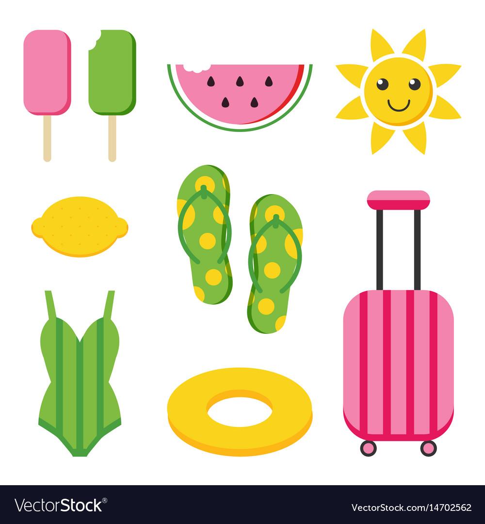 Colorful flat design summer set vector image