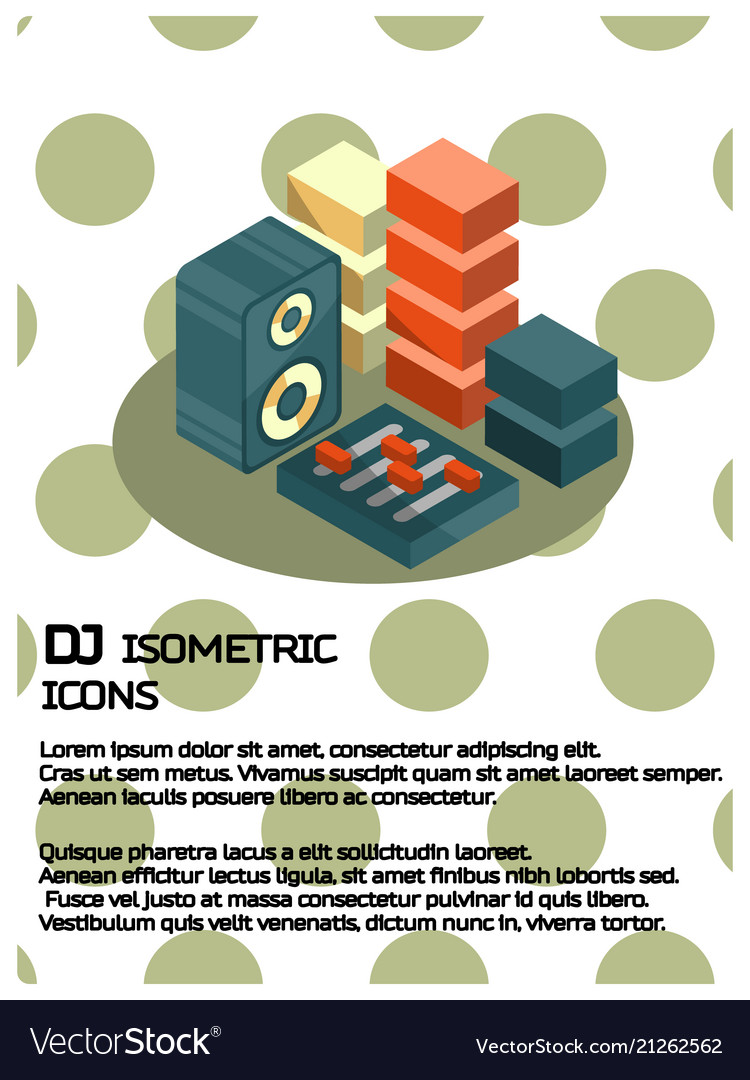 Dj color isometric poster