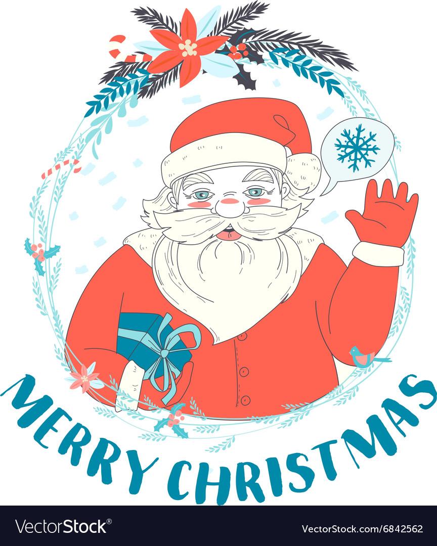 festive funny merry christmas card with santa vector image - Funny Merry Christmas Greetings