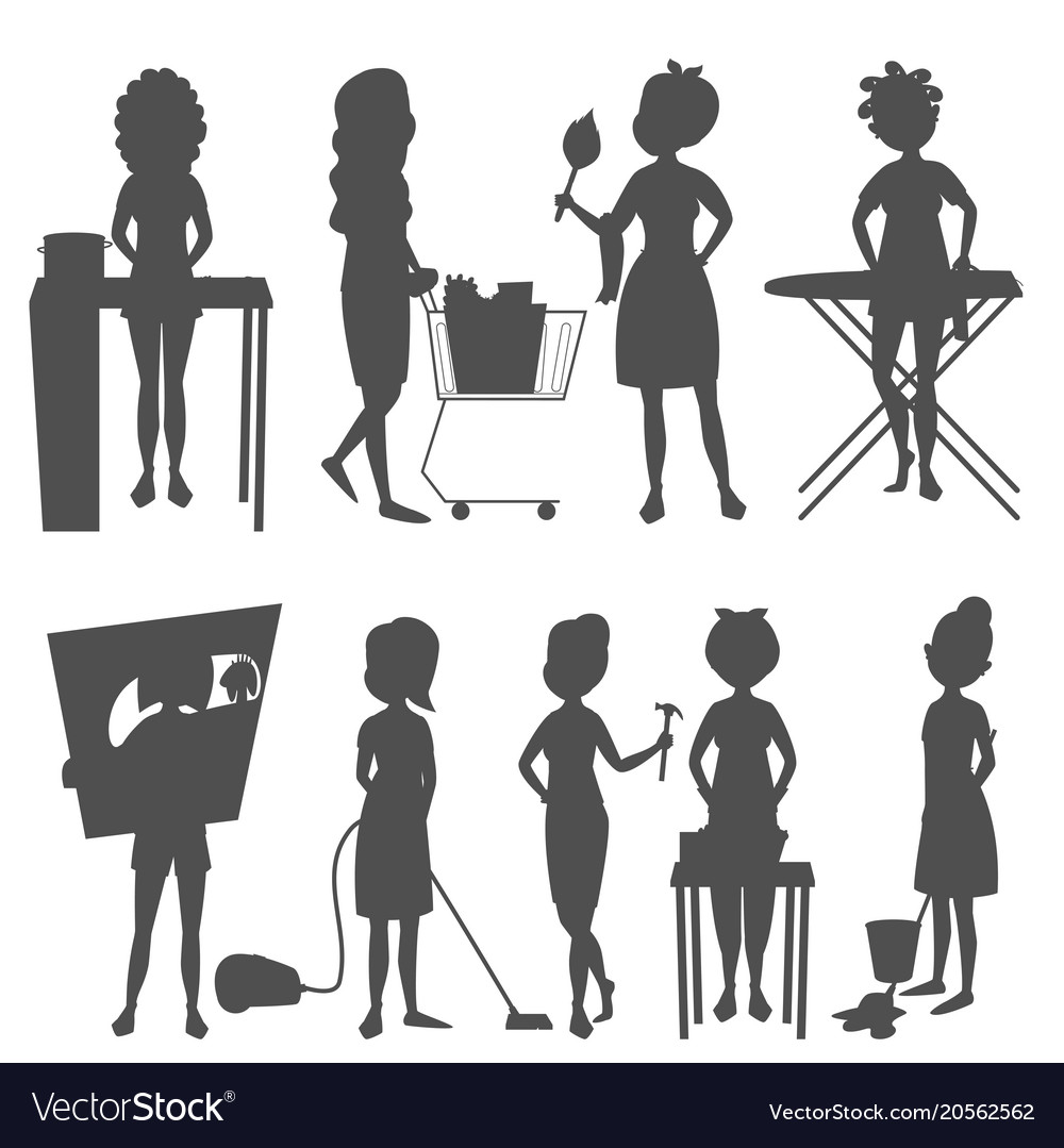 Housewifes homemaker woman silhouette cute