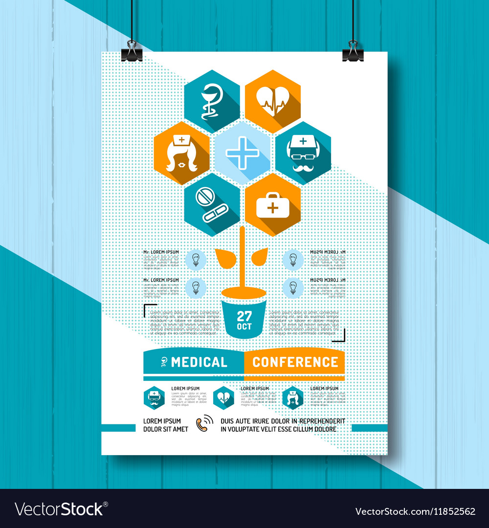 medical conference poster flat royalty free vector image