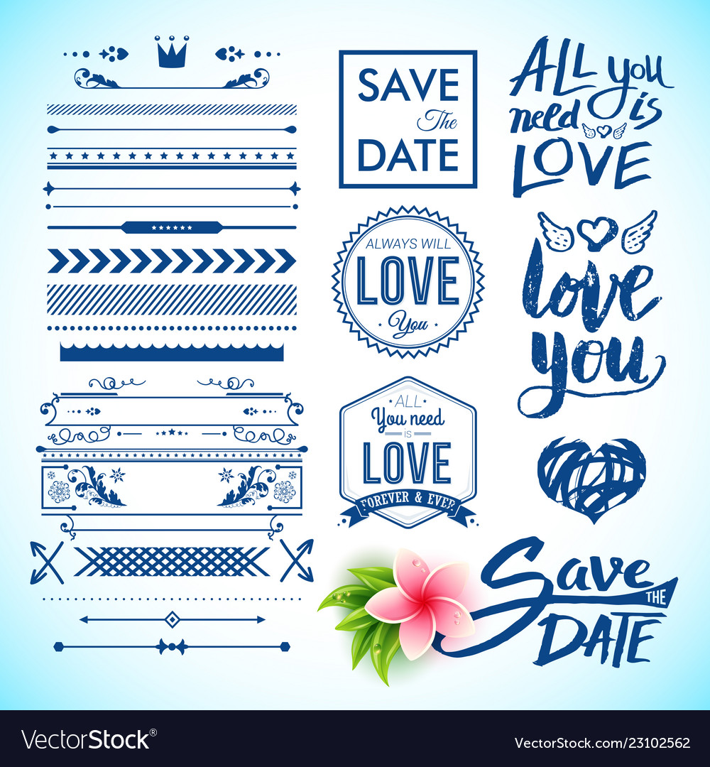 Save the date and love labels as graphic icons