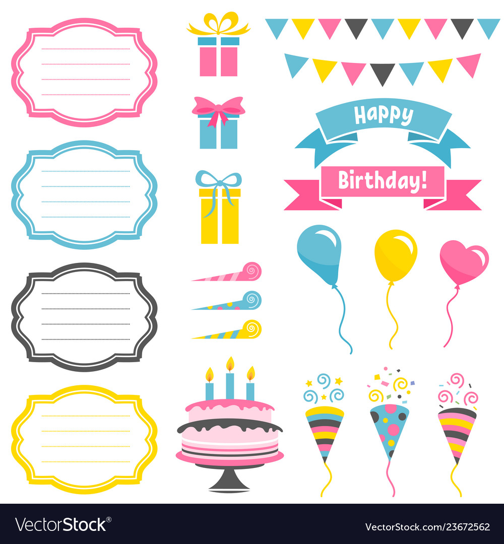 Set of colorful birthday party elements isolated