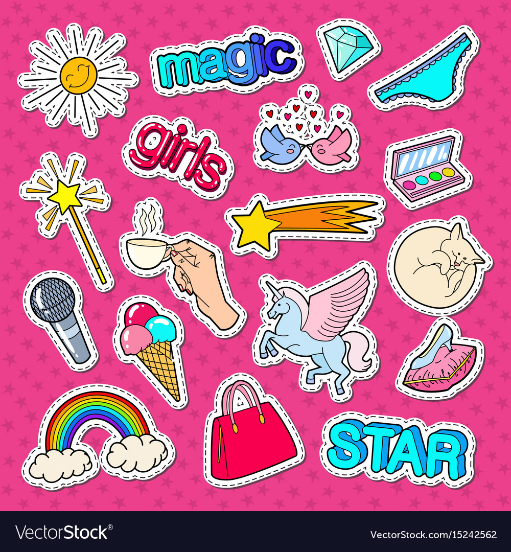 Teenage girl style stickers patches and badges