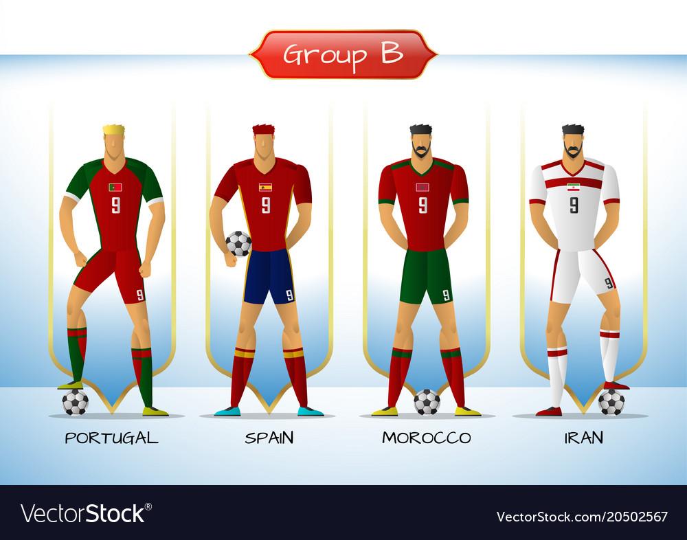 2018 soccer or football team uniform group b