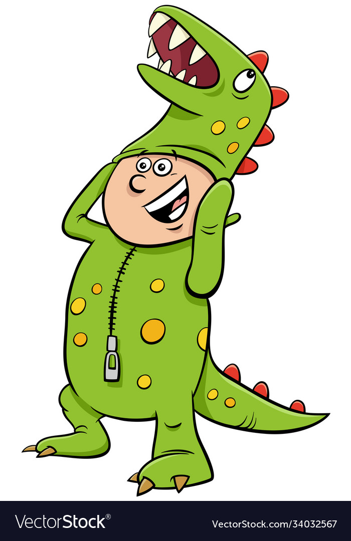 Boy in dinosaur costume at halloween party cartoon