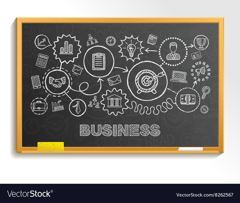 Business hand draw integrated icons set on school
