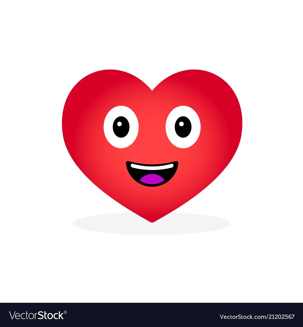 Cartoon heart emoticon isolated on white