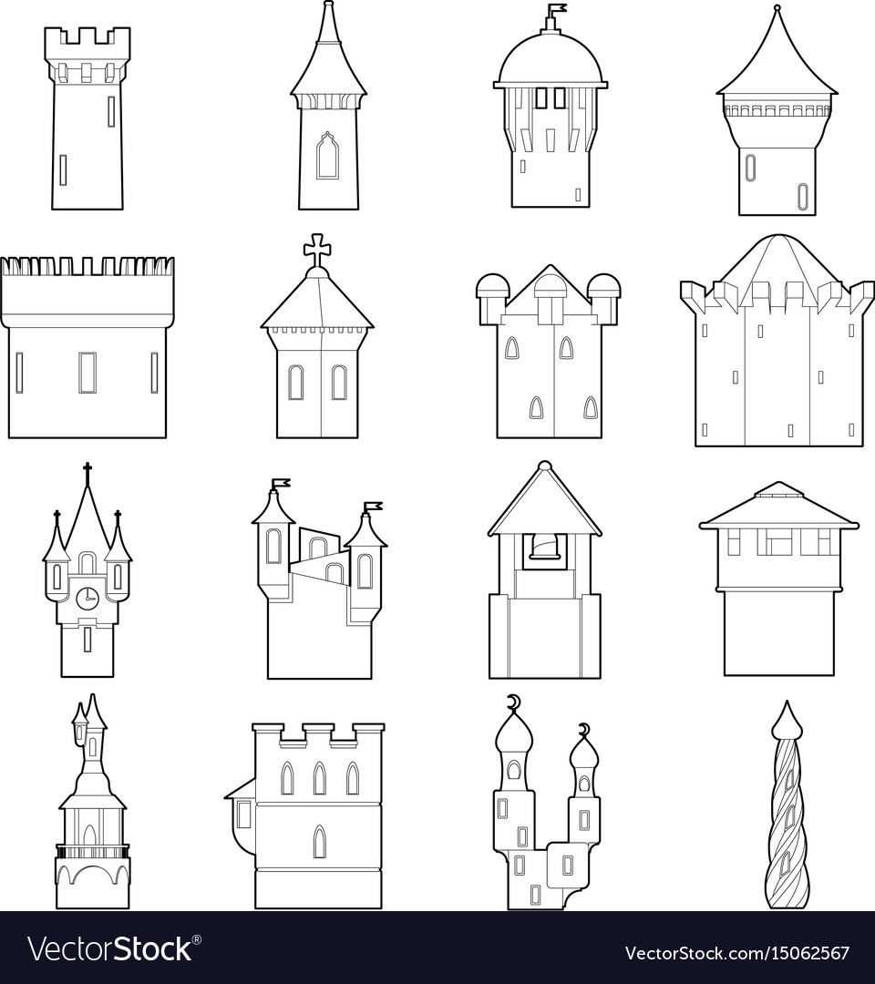 castle tower icons set color outline style vector 15062567 castle tower icons set color outline style vector image