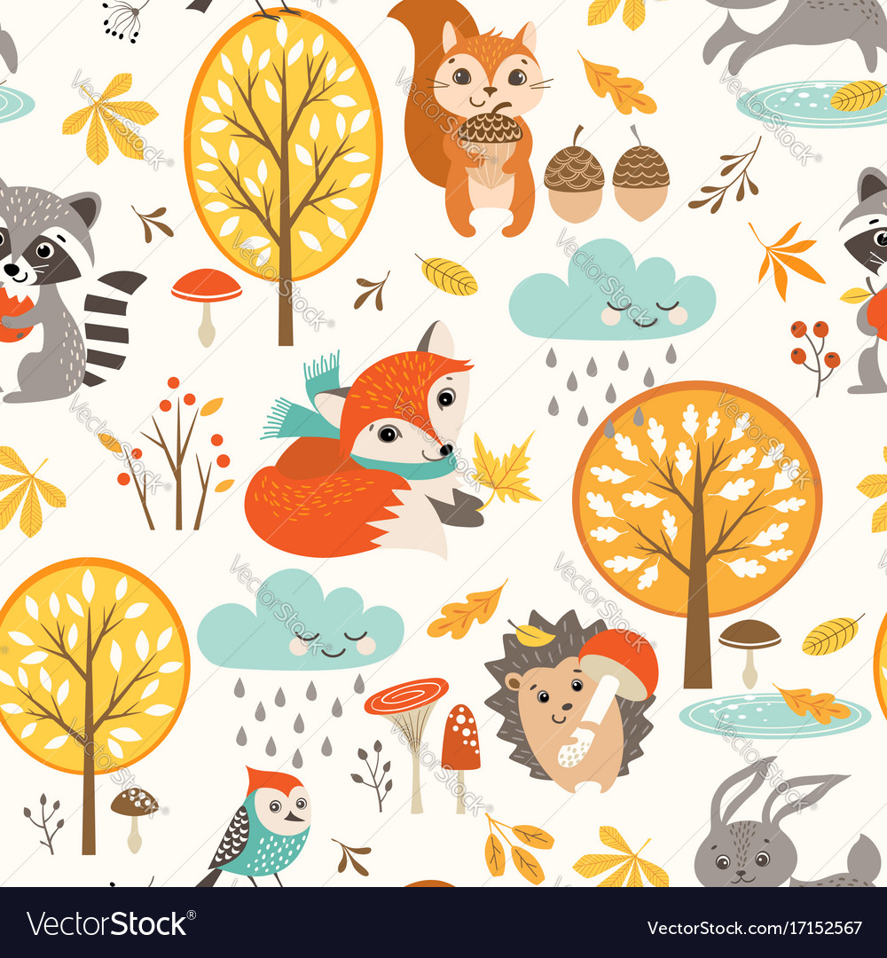 Cute autumn rainy pattern
