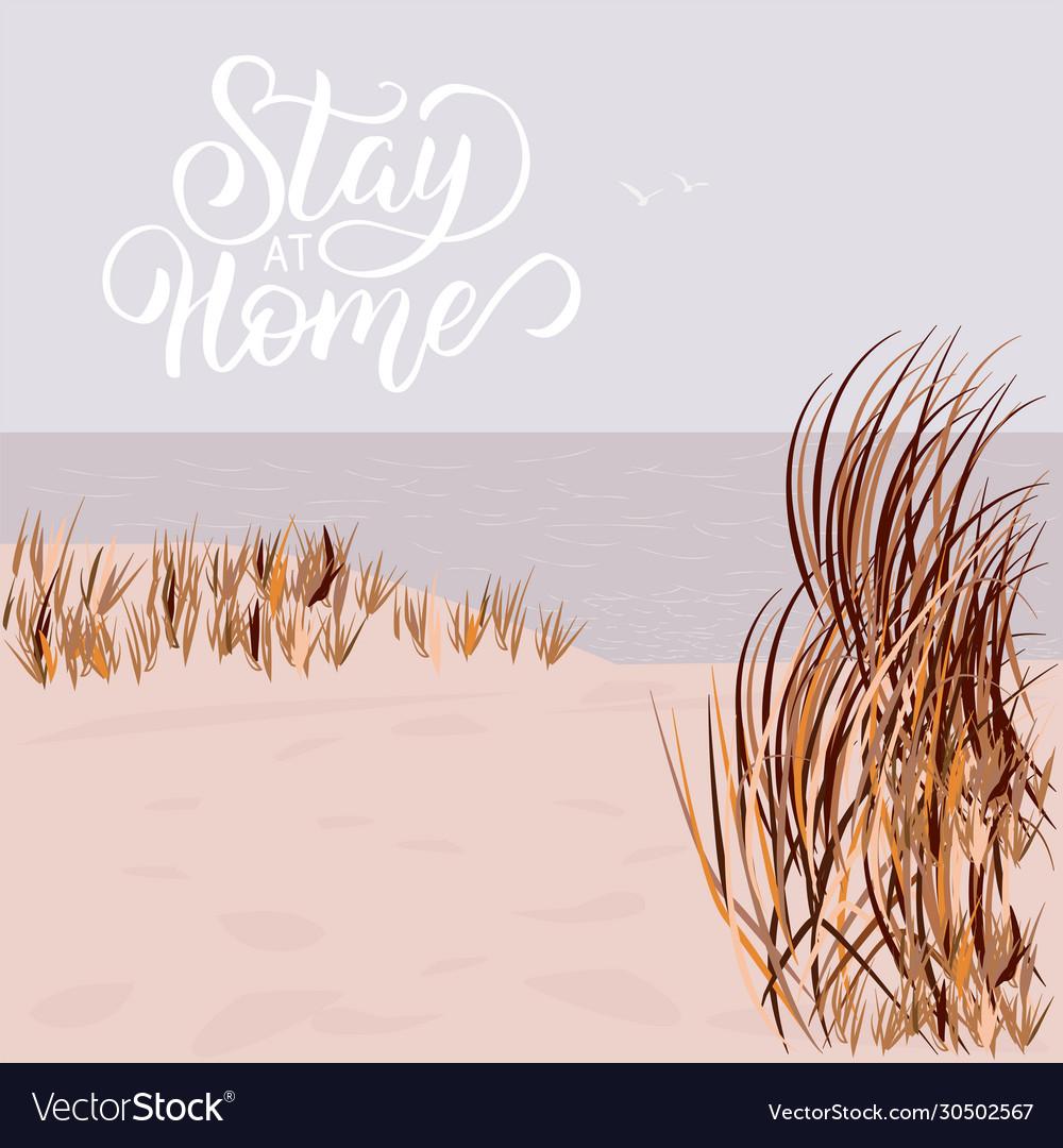 Empty beach stay at home coronavirus