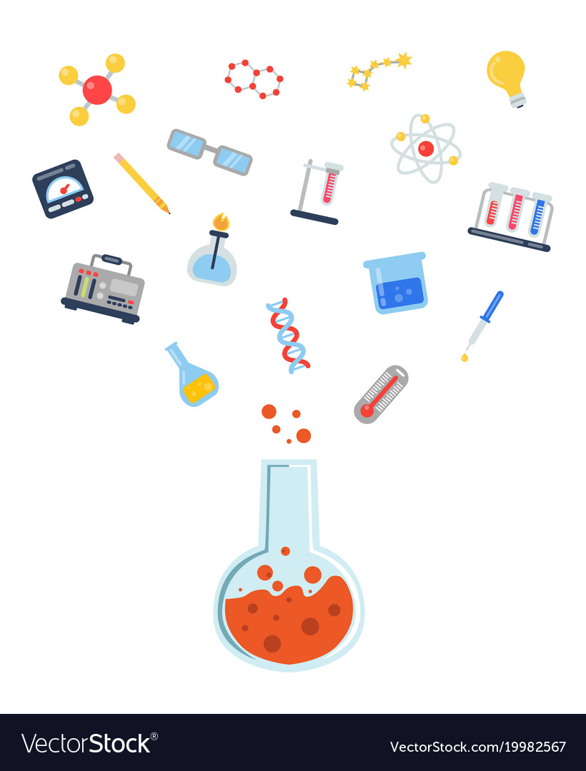 Flat style science icons vial
