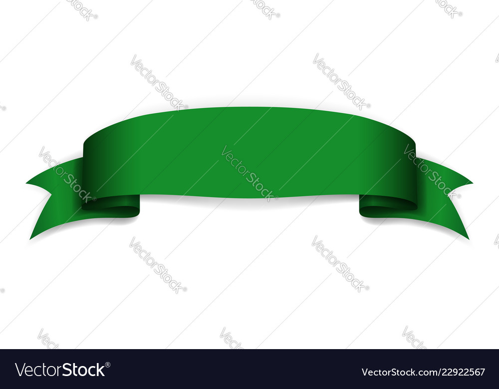 Green ribbon banner satin blank design label