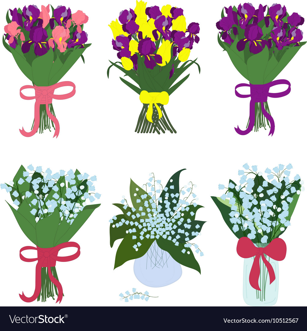 Iris and lilies of the valley bouquets