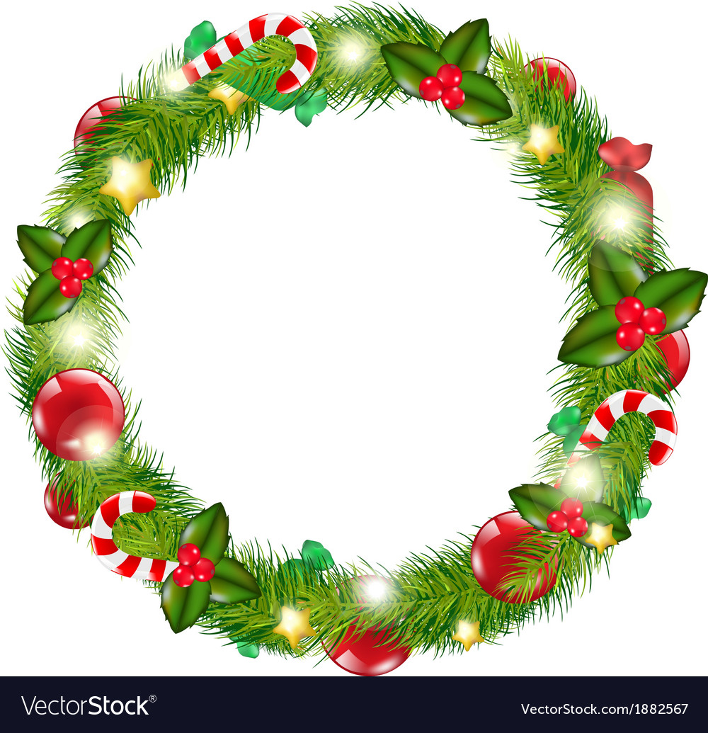 Christmas Wreath Vector.Merry Christmas Wreath
