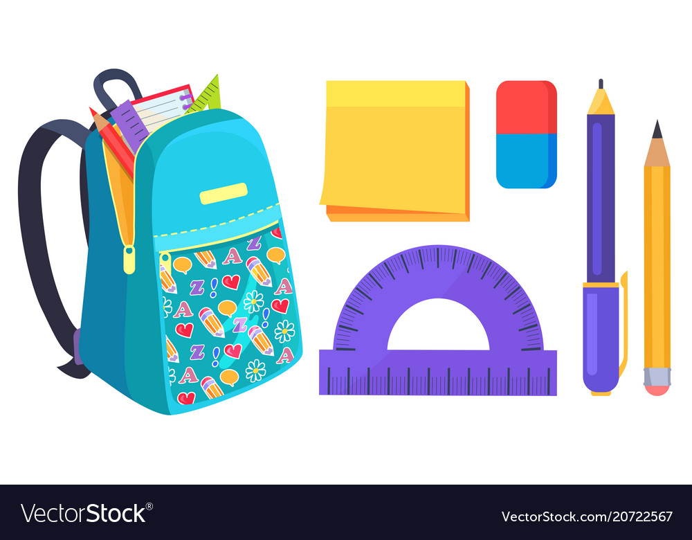 Open school bag with stationary element accessory