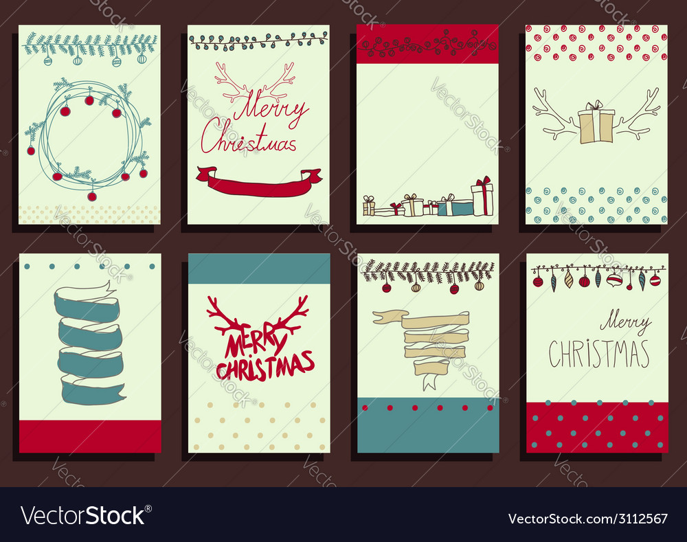 Set Christmas Calligraphic Design Elements