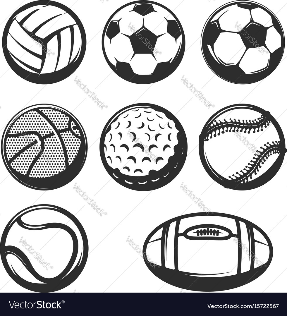 Set of sport balls icons isolated on white