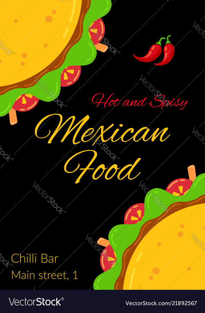 Tasty mexican taco food celebration menu template