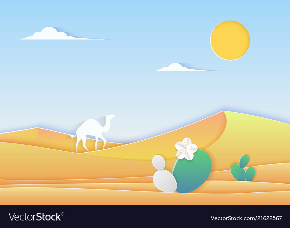 Trendy paper cuted style desert landscape with