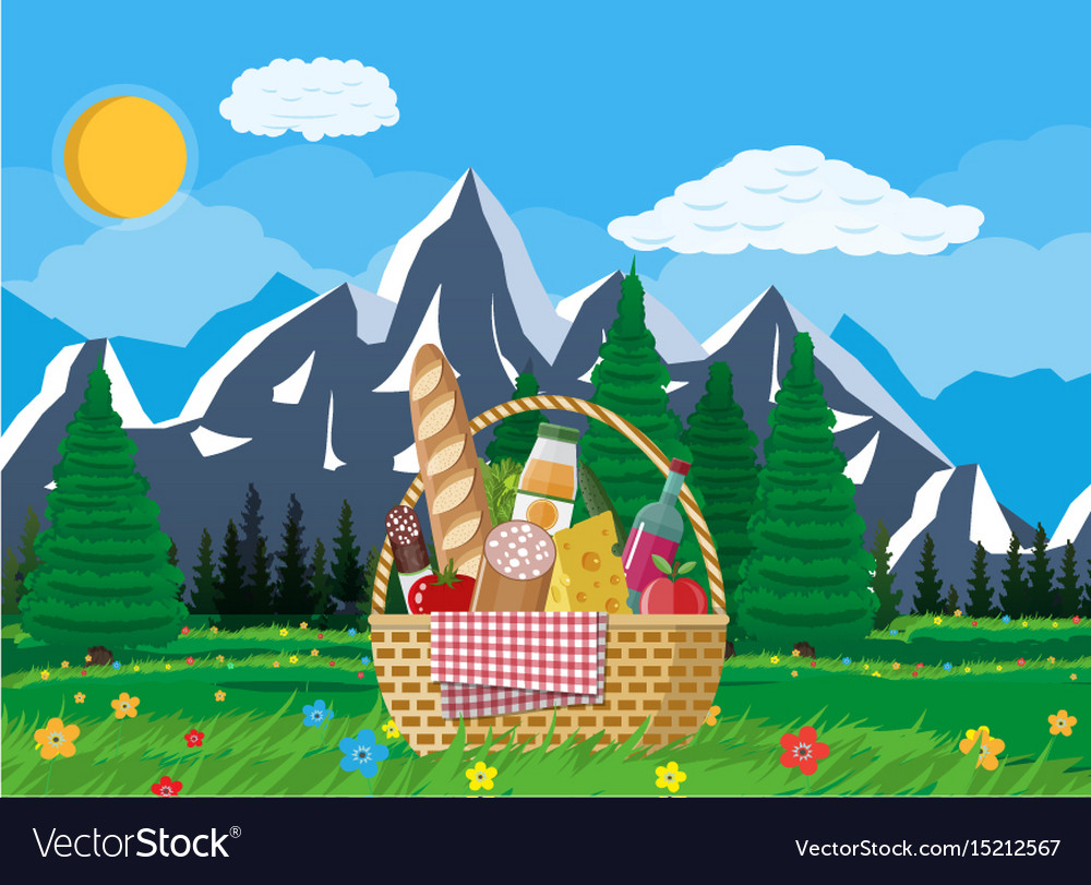 Wicker picnic basket full of products and nature vector image